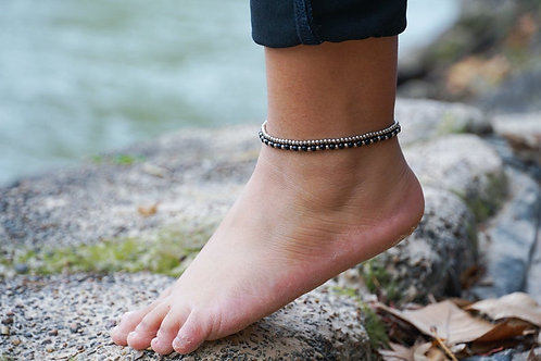 Black Dual Band Boho Silver Anklet