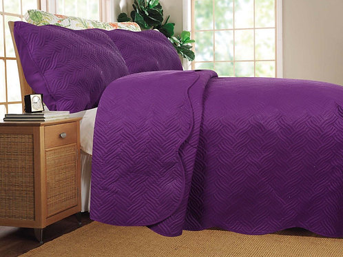 Midnight Vineyard Solid Purple Thin & Lightweight Quilted Coverlet Bedspread