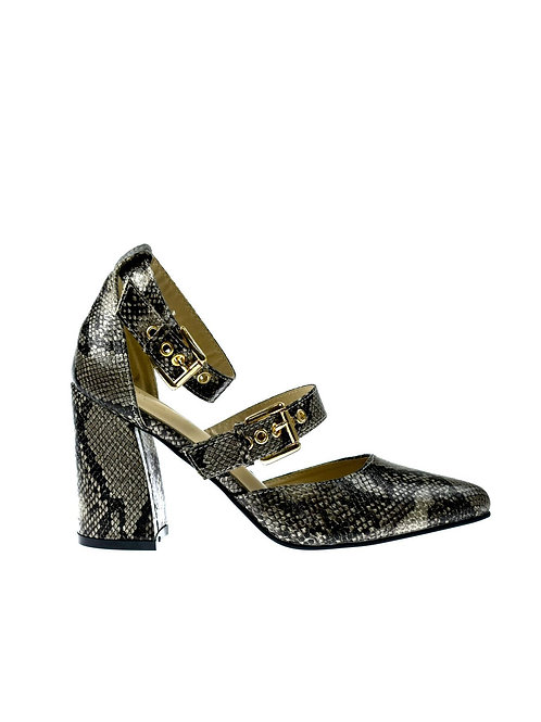 Macy Block Heel Ankle Strap Pointed Shoe Natural Snake