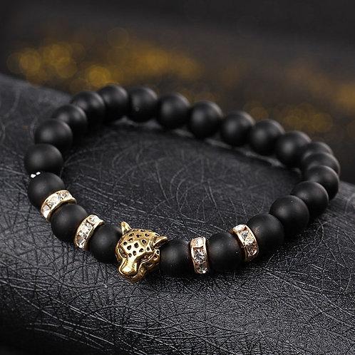 Natural Stone Beads Men Bracelets Lucky Charm Matte Black