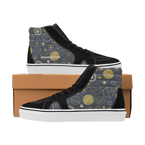 Stars Earth Moon Men's High Top Canvas Shoes