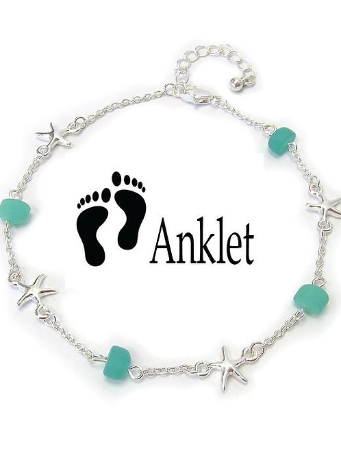 Seashell Seaglass Charm Anklet