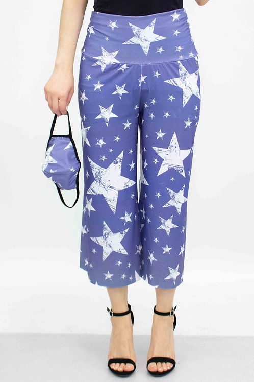 Star Print Cropped Gaucho Pants and Mask - Blue
