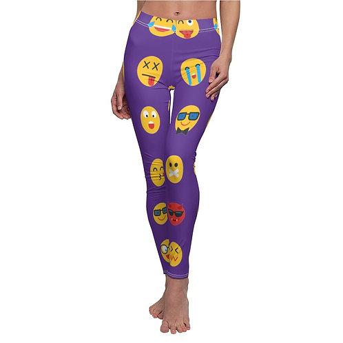 Emoji Print Casual Leggings - Purple
