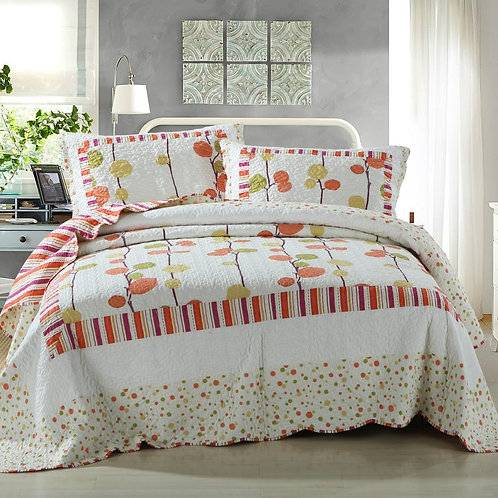 Polka Dots Vineyard Orange & White Reversible Quilted Coverlet Bedspread