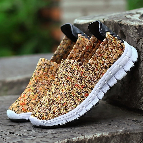 Women Flats Summer Casual Shoes Breathable Sneakers Female Woven Walking