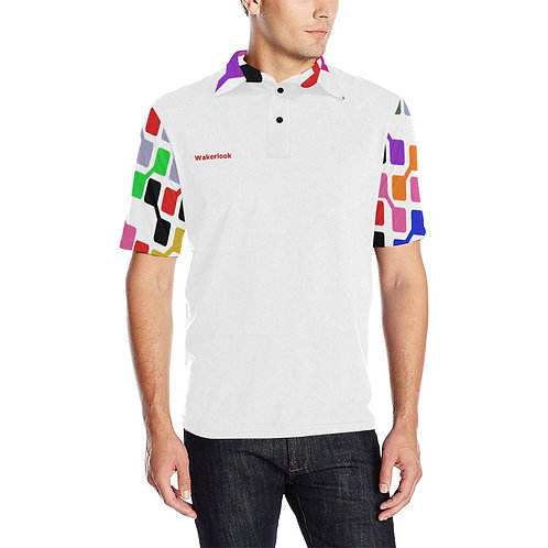 Wakerlook Colored Men's Sleves Print Polo Shirt