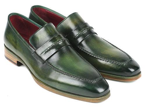 Paul Parkman Men's Loafer Shoes Green (ID#068-GRN)