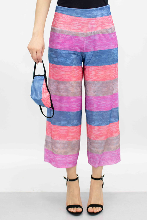 Striped Print Cropped Gaucho Pants and Mask - Pink
