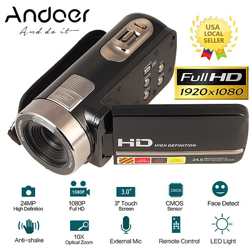 "Digital Video Camera Camcorder 3.0"" LCD Touch Screen DV 24MP 1080P Full HD"