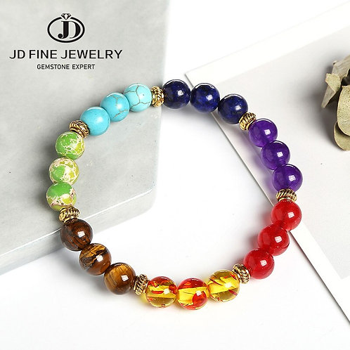 JD Fashion 7 Chakra Bracelet Men Black Lava Healing Balance Beads