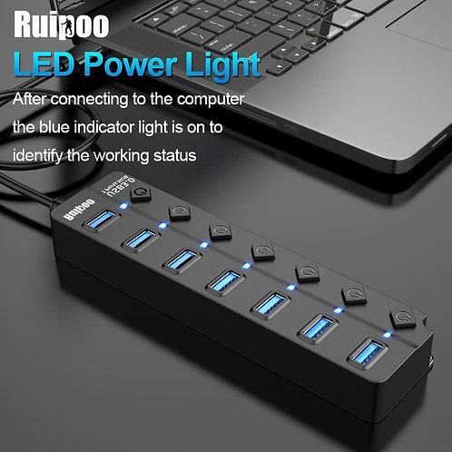USB Hub 3.0 High Speed 4 / 7 Port USB 3.0 Hub Splitter on/Off Switch With EU/US