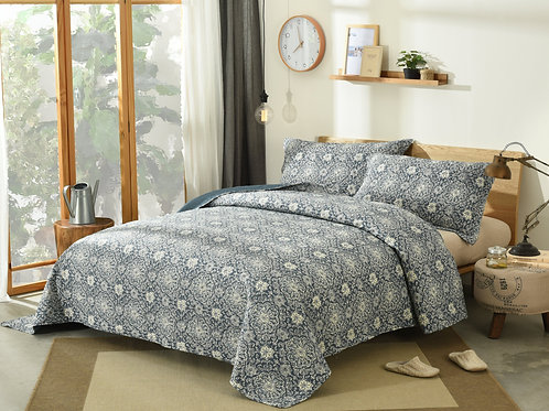 DaDa Bedding Elegant Bohemian Blue Medallion Quilted Bedspread Set