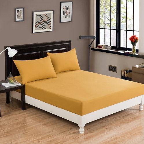 DaDa Bedding Luxury Elegance Yellow Soft 100% Cotton Fitted Sheet & Pillow Cases