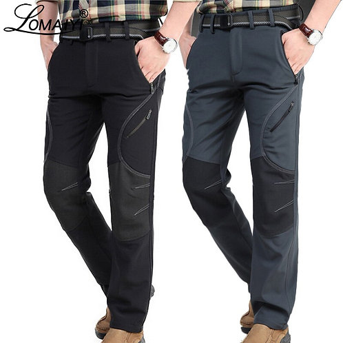 Men's Winter Warm Casual Pants Men Black Thick Fleece Trousers Man Softshell