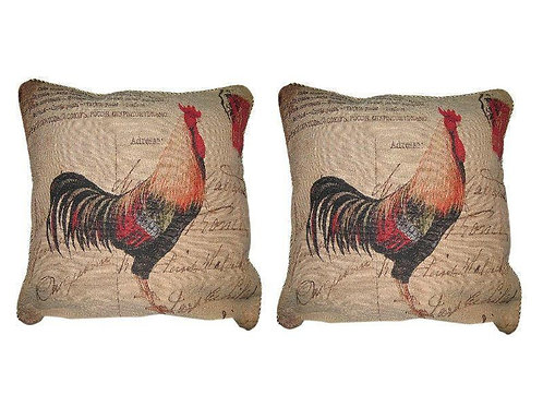 DaDa Bedding Set of Two Glamorous Rooster Throw Pillow Covers