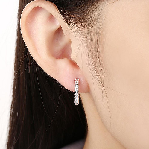 Huggie Earring in 18K White Gold Plated with Swarovski Crystals