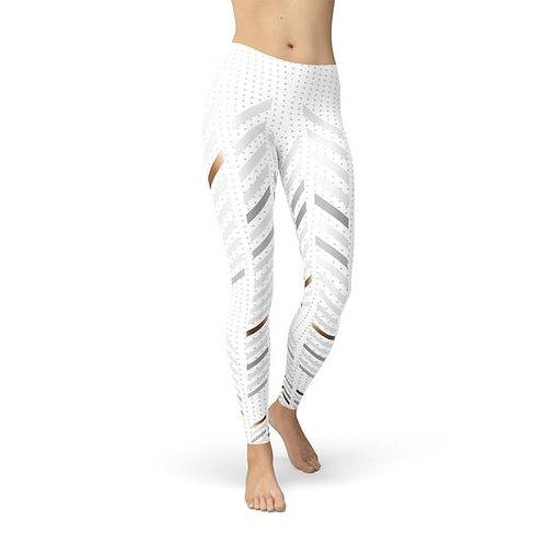 Womens White Stripes Leggings