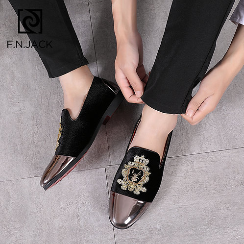 F.N.JACK  Velvet Mens Shoes Rubber Loafers Tenis Masculino Scarpe