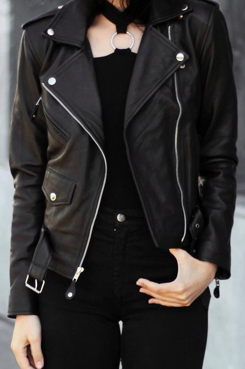 Women Black Handmade Leather Jacket