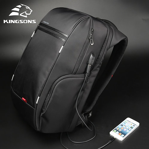 "Kingsons 15""17""  Laptop Backpack External USB Charge Computer Backpacks"