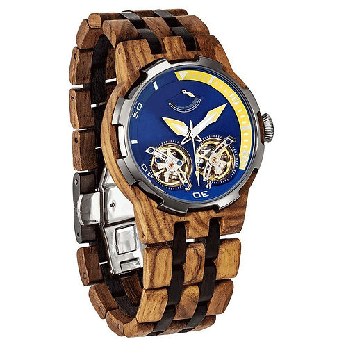 Men's Dual Wheel Automatic Ambila Wood Watch - For High End Watch Collectors