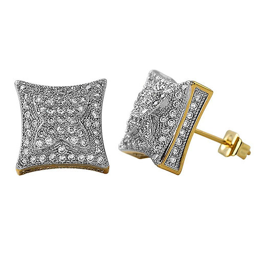 3D X Kite Micro Pave CZ Bling Bling Earrings