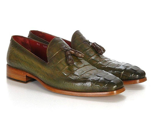 Paul Parkman Men's Green Crocodile Embossed Calfskin Tassel Loafer
