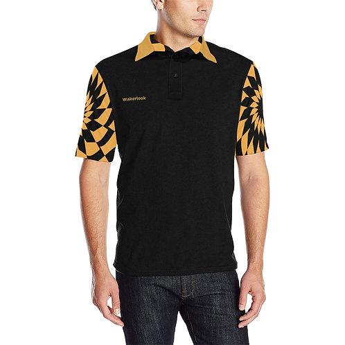 Wakerlook Golden Color Spiral Men's Sleeves Print Polo Shirt