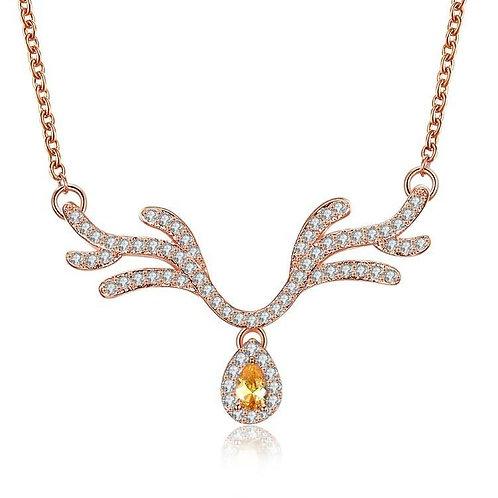 Citrine Reindeer Antler with Swarovski Crystal