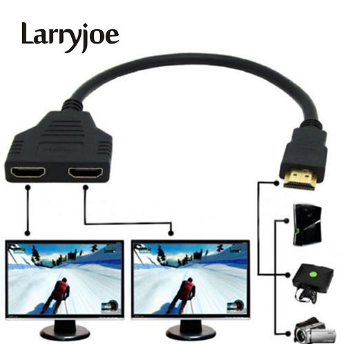 Larryjoe New Arrival Cable HDMI Splitter Cable 1 Male to Dual HDMI 2 Female