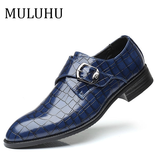 MULUHU 2019 Spring New Fashion Men Dress Shoes Leather Buckle