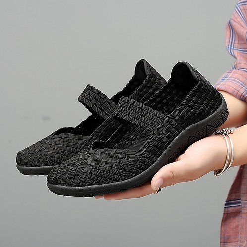 Womens Flats Shoes Slip on Fashion Woven Sneakers