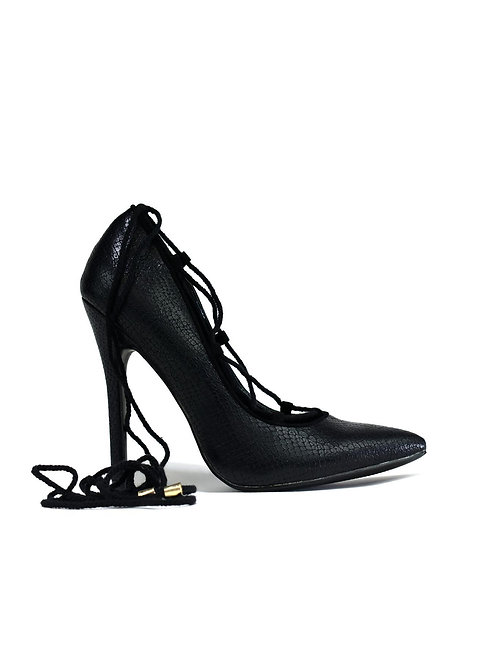 Lace Up Classic Pump Heel  Black Snake