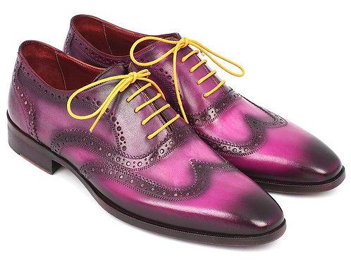 Paul Parkman Men's Wingtip Oxfords Lilac Handpainted Calfskin (ID#228-LIL)