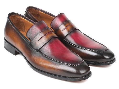Paul Parkman Brown & Bordeaux Dual Tone Loafers for Men (ID#10BB22)
