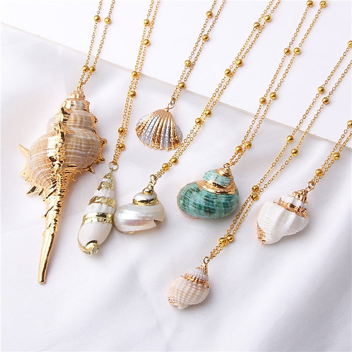 Boho Conch Shell Necklace Sea Beach Shell Chain Pendant