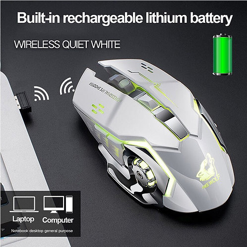Rechargeable Wireless Silent LED Backlit USB Optical