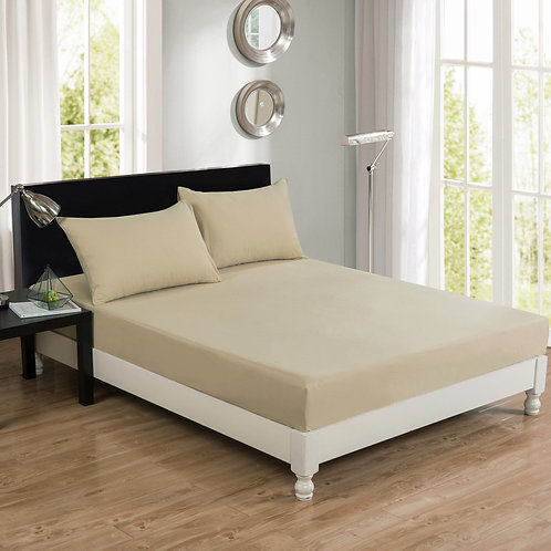 DaDa Bedding Luxury 100% Cotton Beige Fitted Bed Sheet & Pillow Cases
