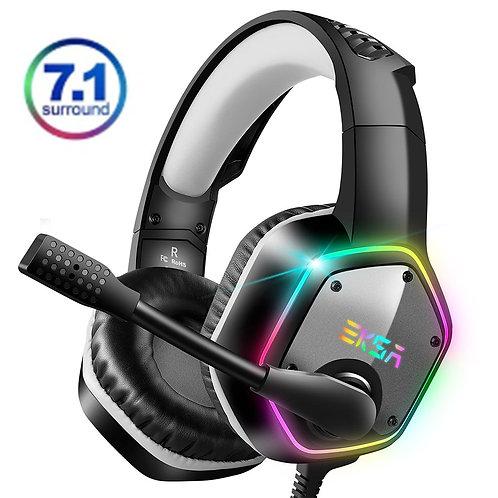 EKSA 7.1 Virtual Surround Gaming Headset Colorful LED Light Gamer Headphones