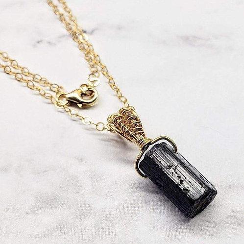 Raw Black Tourmaline Gemstone Necklace
