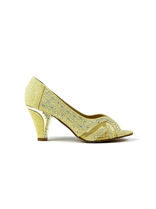 Mannat Peep Toe Mid Heel Sandal Gold