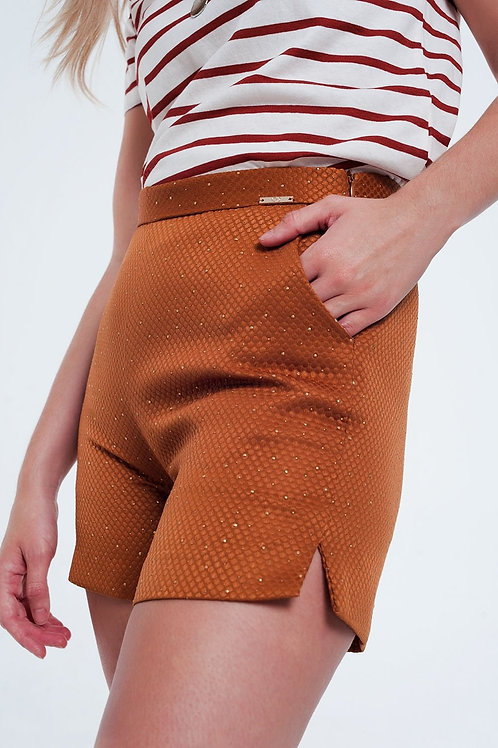 Embellished High Waist Short in Orange and Gold