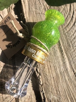 #18023.) Green Bass Boat Acrylic Duck Call