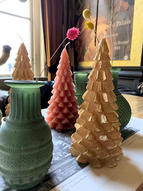 Kerstboom kaars - Goud