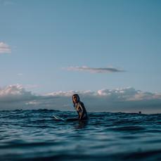 Angela surfing