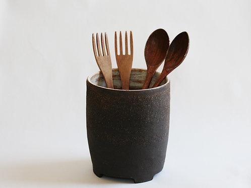 Black Ceramic Utensil Holder