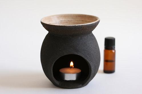 Black ceramic incense burner