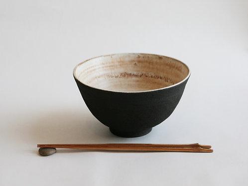Set of Two Black Ceramic Noodles bowl