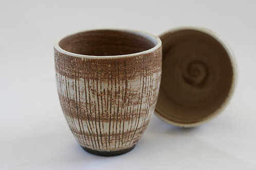 Brown Cup with Lines